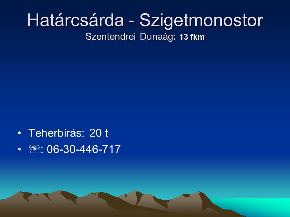 Határcsárda - Szigetmonostor Szentendrei Dunaág: 13 fkm
