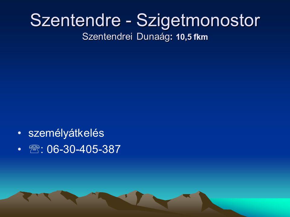 Szentendre - Szigetmonostor Szentendrei Dunaág: 10,5 fkm