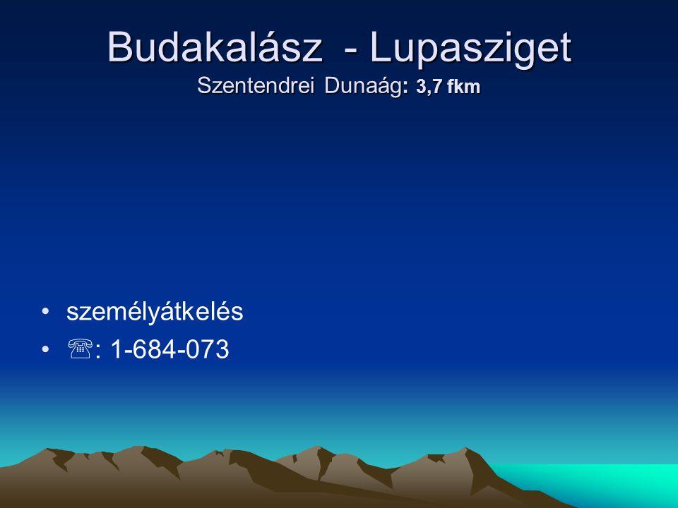 Budakalász - Lupasziget Szentendrei Dunaág: 3,7 fkm
