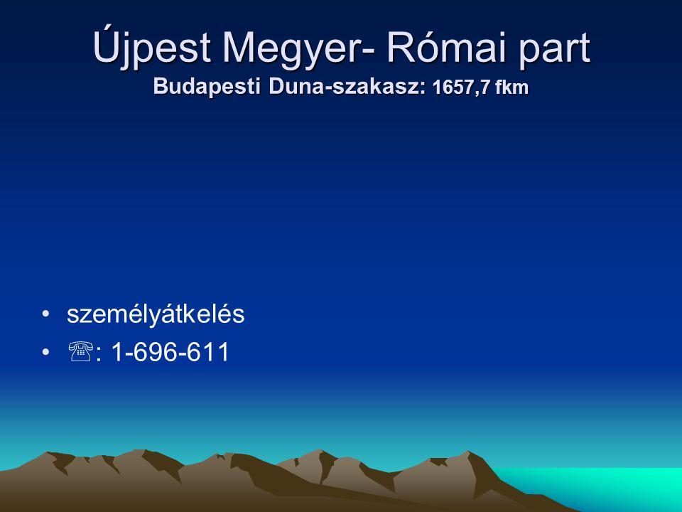 Újpest Megyer- Római part Budapesti Duna-szakasz: 1657,7 fkm