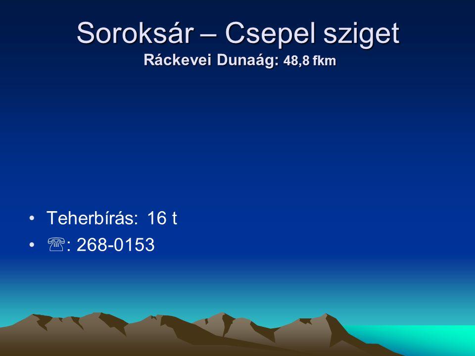 Soroksár – Csepel sziget Ráckevei Dunaág: 48,8 fkm