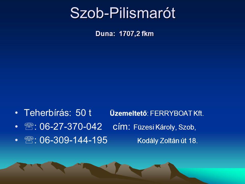 Szob-Pilismarót Duna: 1707,2 fkm