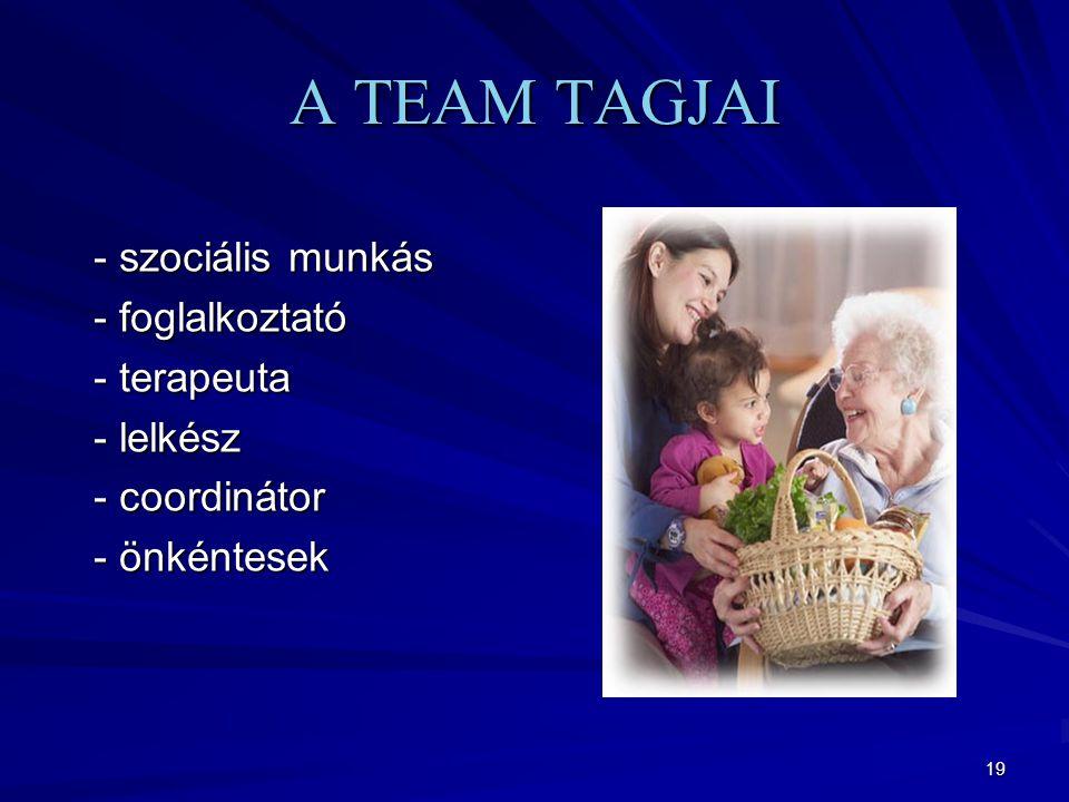 A TEAM TAGJAI - szociális munkás - foglalkoztató - terapeuta - lelkész