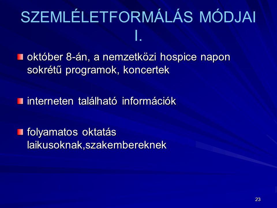 SZEMLÉLETFORMÁLÁS MÓDJAI I.