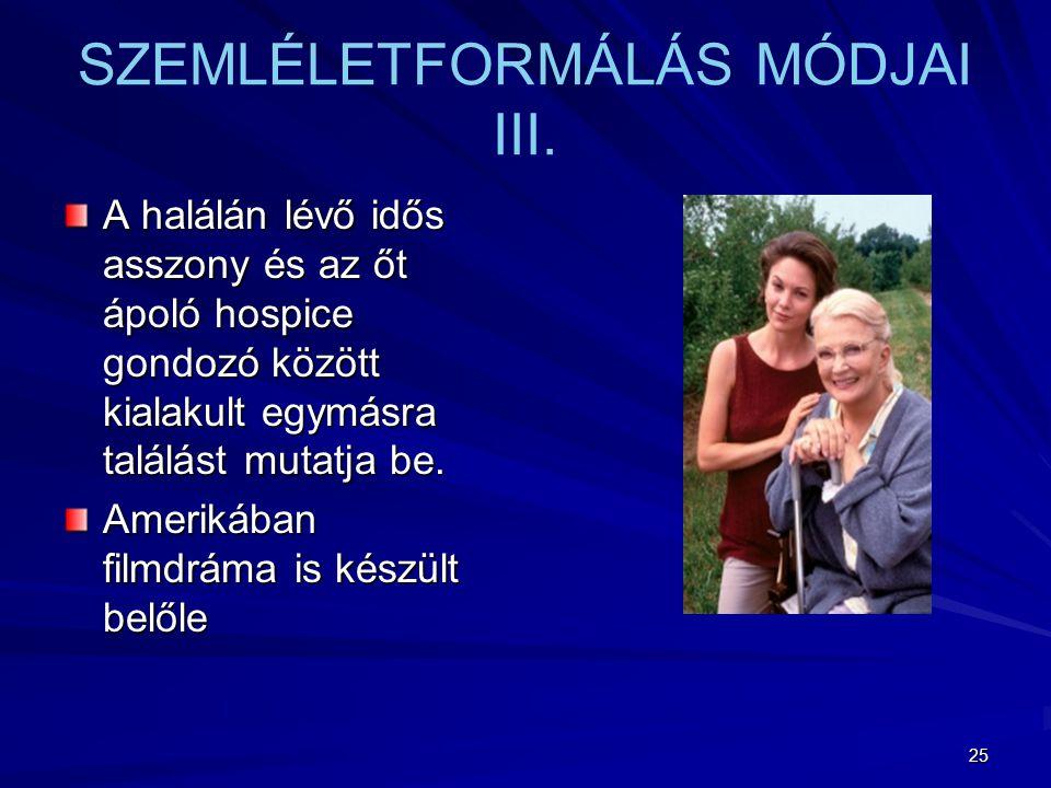 SZEMLÉLETFORMÁLÁS MÓDJAI III.