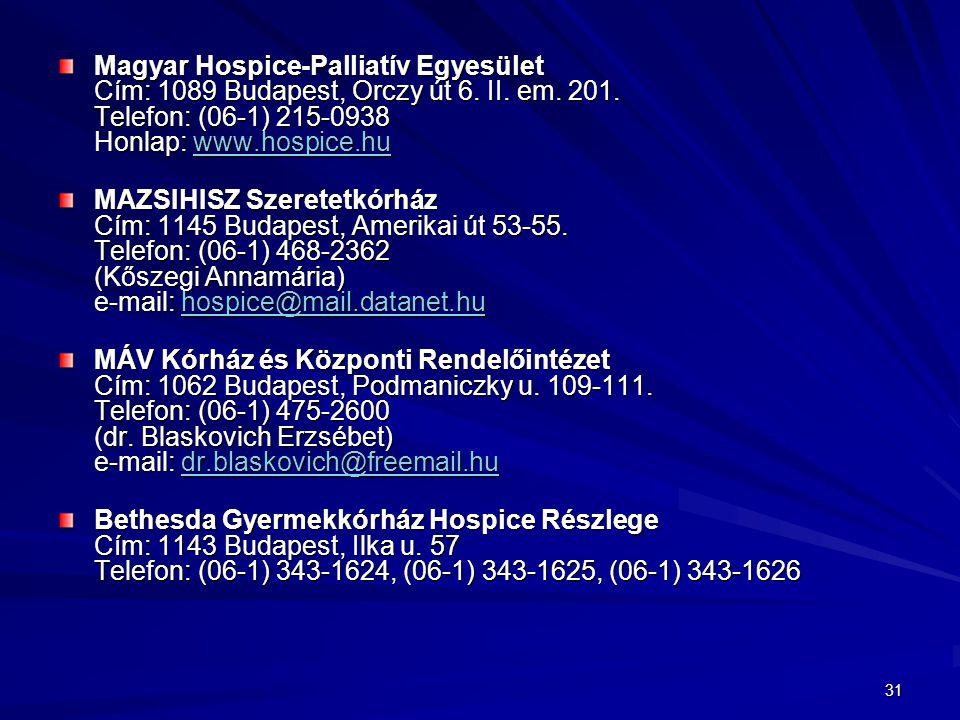 Magyar Hospice-Palliatív Egyesület Cím: 1089 Budapest, Orczy út 6. II