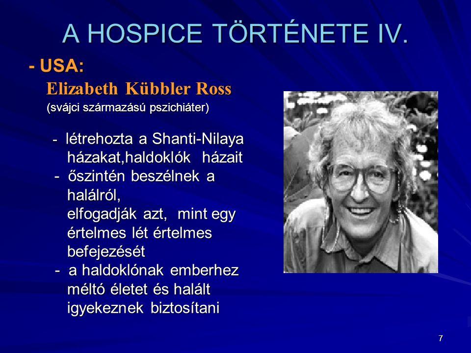 A HOSPICE TÖRTÉNETE IV. - USA: házakat,haldoklók házait