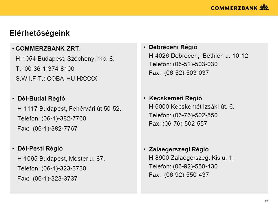 Elérhetőségeink H-1054 Budapest, Széchenyi rkp. 8.