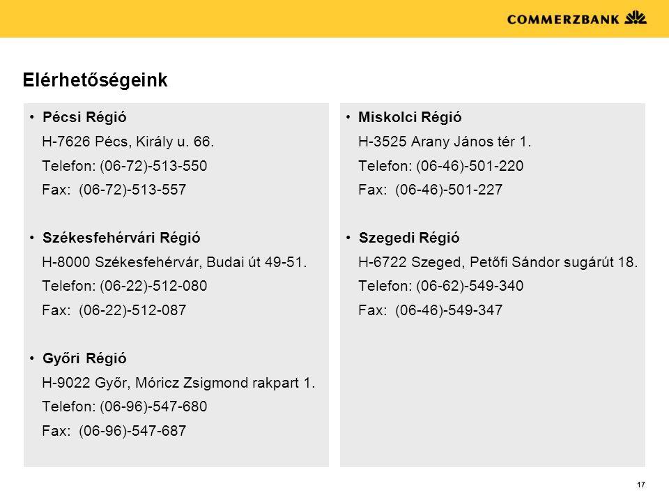 Elérhetőségeink Pécsi Régió H-7626 Pécs, Király u. 66.