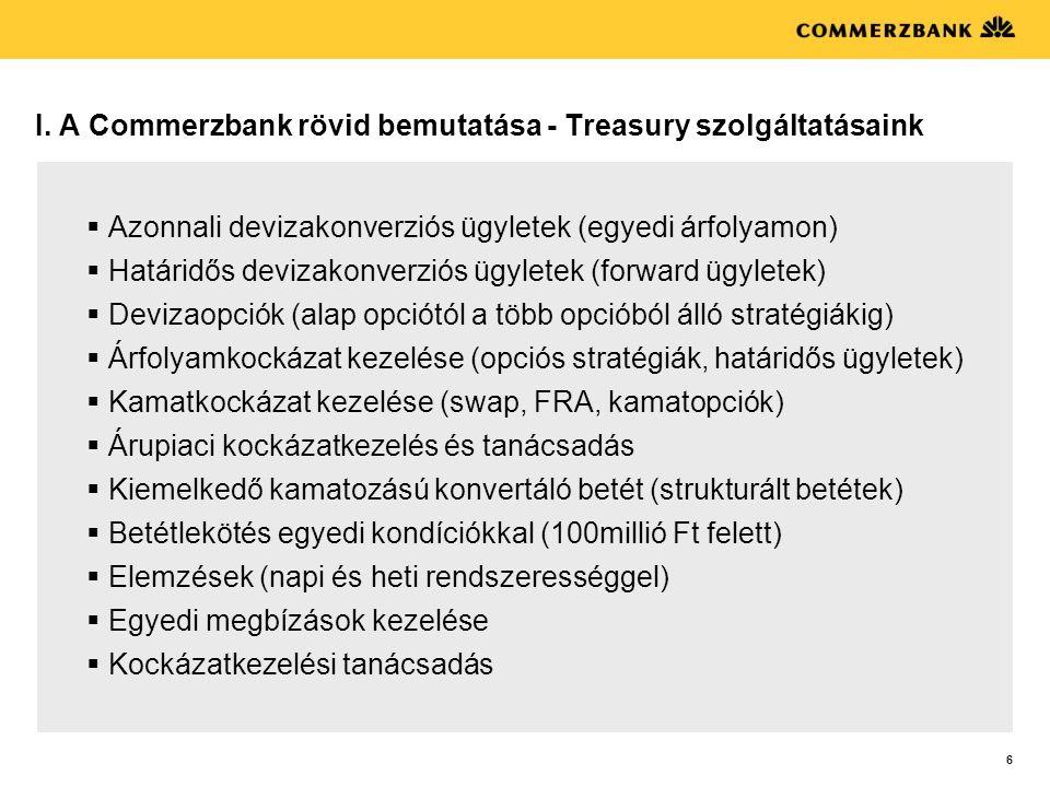 I. A Commerzbank rövid bemutatása - Treasury szolgáltatásaink