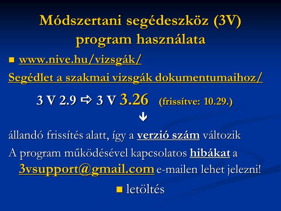 Módszertani segédeszköz (3V) program használata