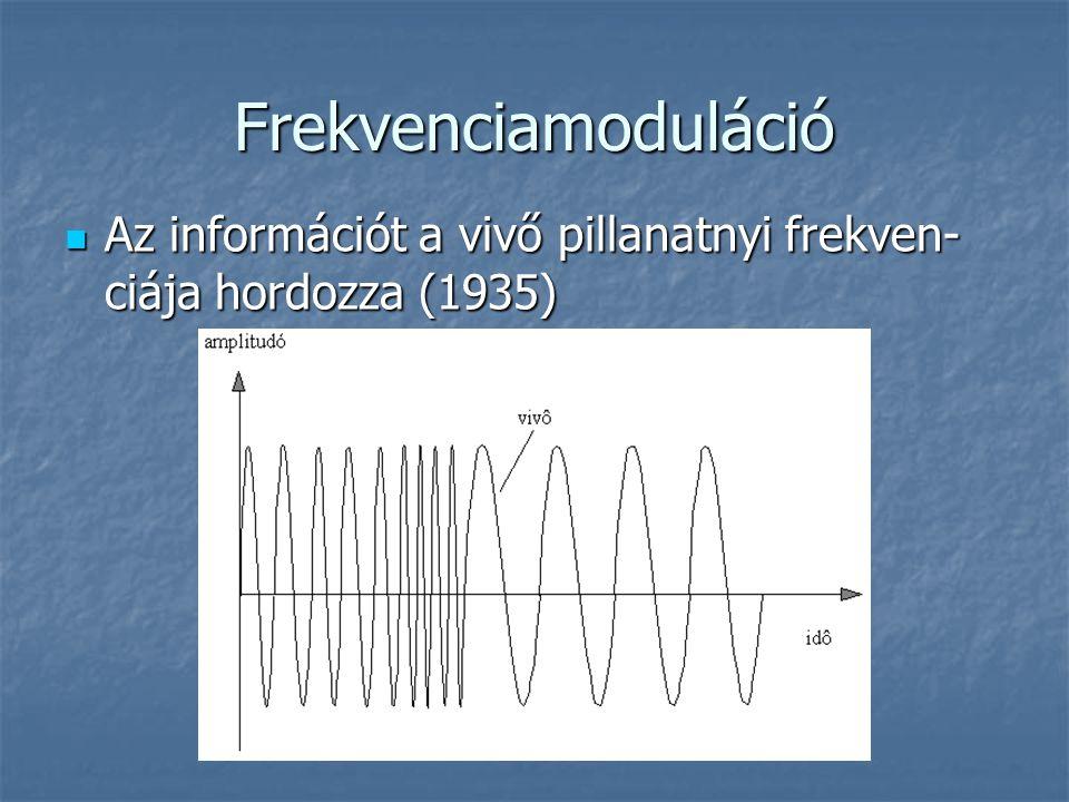 Frekvenciamoduláció Az információt a vivő pillanatnyi frekven-ciája hordozza (1935)