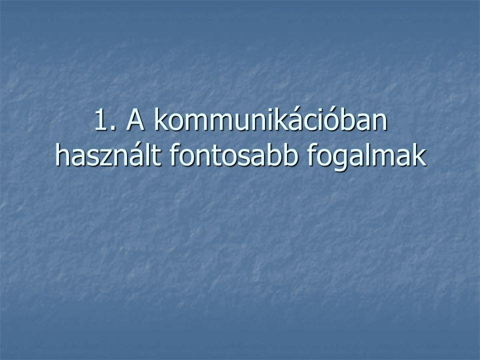 1. A kommunikációban használt fontosabb fogalmak