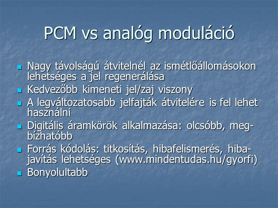 PCM vs analóg moduláció