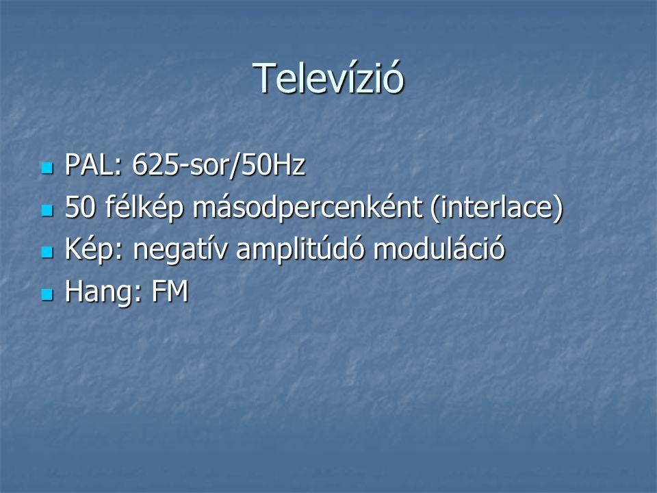 Televízió PAL: 625-sor/50Hz 50 félkép másodpercenként (interlace)
