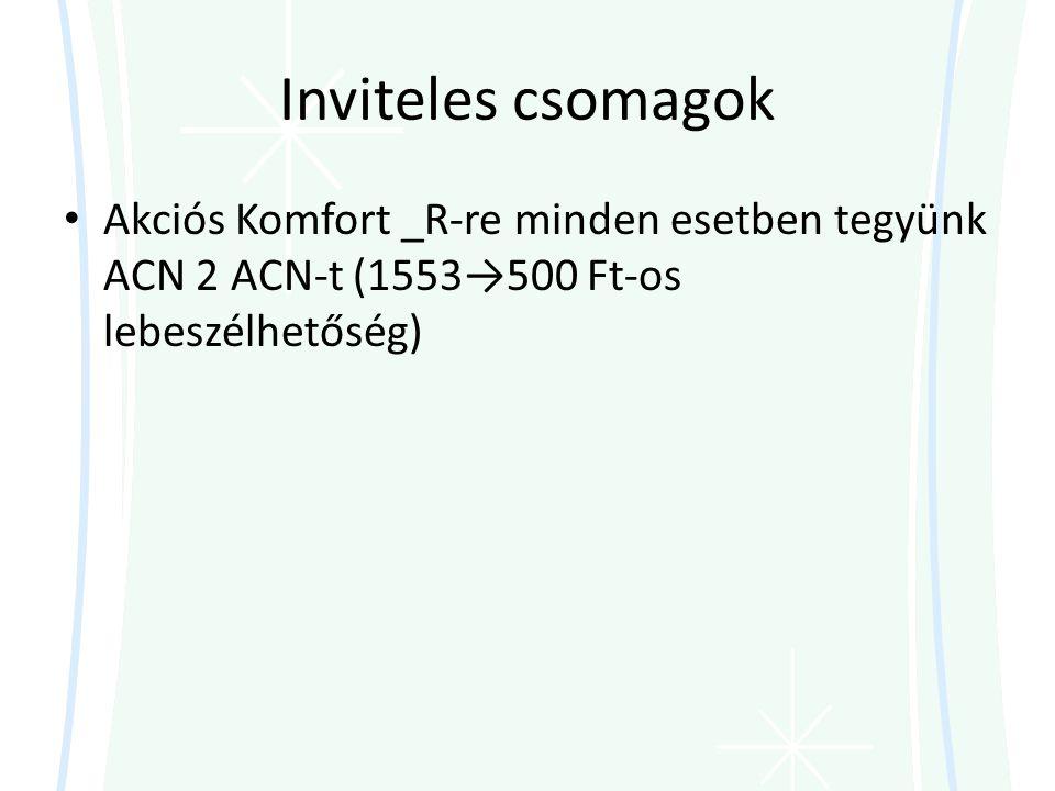 Inviteles csomagok Akciós Komfort _R-re minden esetben tegyünk ACN 2 ACN-t (1553→500 Ft-os lebeszélhetőség)