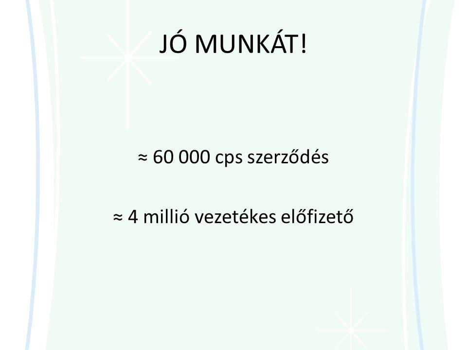 ≈ 60 000 cps szerződés ≈ 4 millió vezetékes előfizető