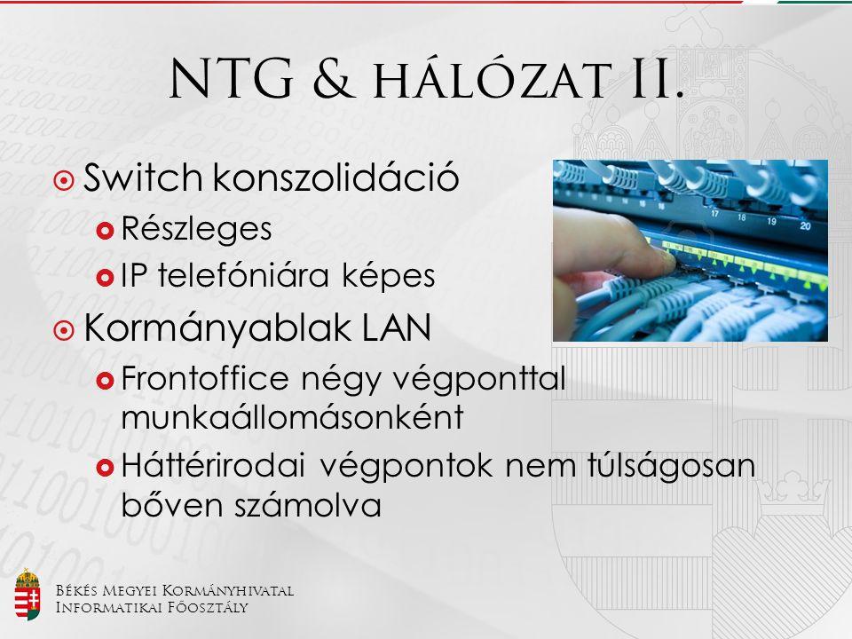 NTG & hálózat II. Switch konszolidáció Kormányablak LAN Részleges