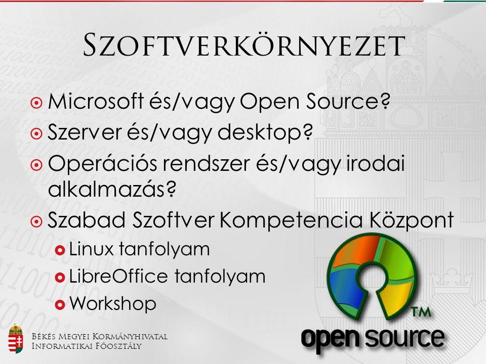 Szoftverkörnyezet Microsoft és/vagy Open Source