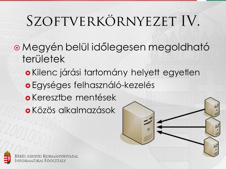 Szoftverkörnyezet IV. Megyén belül időlegesen megoldható területek