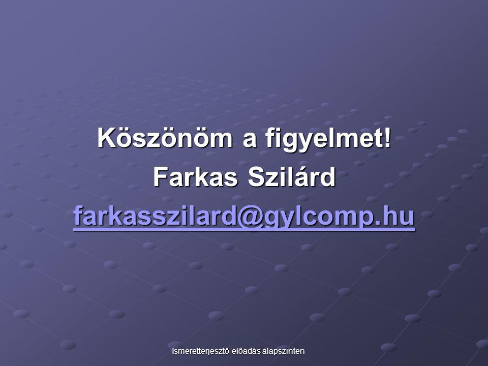 Köszönöm a figyelmet! Farkas Szilárd farkasszilard@gylcomp.hu
