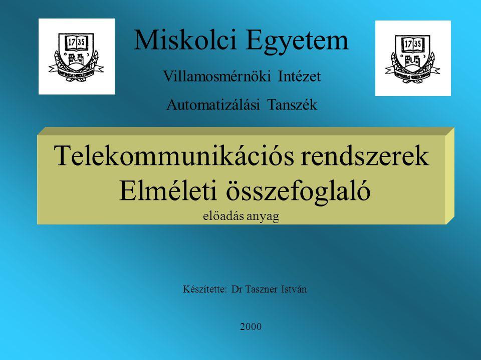 Telekommunikációs rendszerek Elméleti összefoglaló előadás anyag