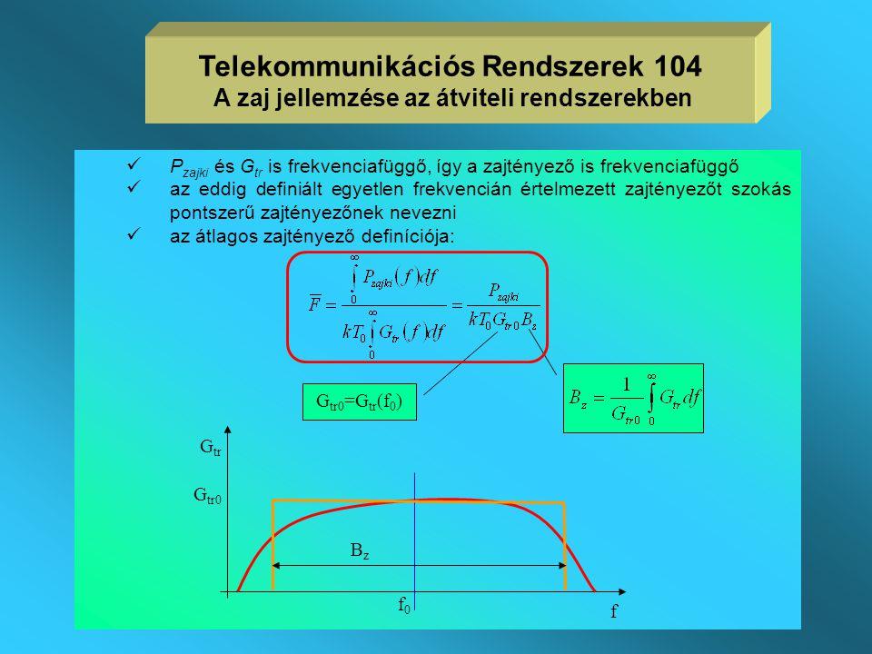 Telekommunikációs Rendszerek 104 A zaj jellemzése az átviteli rendszerekben