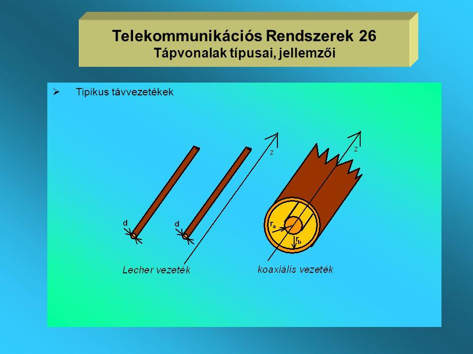 Telekommunikációs Rendszerek 26 Tápvonalak típusai, jellemzői