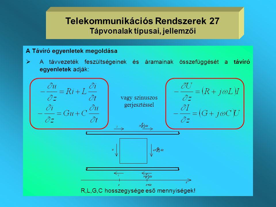 Telekommunikációs Rendszerek 27 Tápvonalak típusai, jellemzői