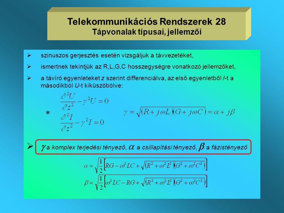 Telekommunikációs Rendszerek 28 Tápvonalak típusai, jellemzői