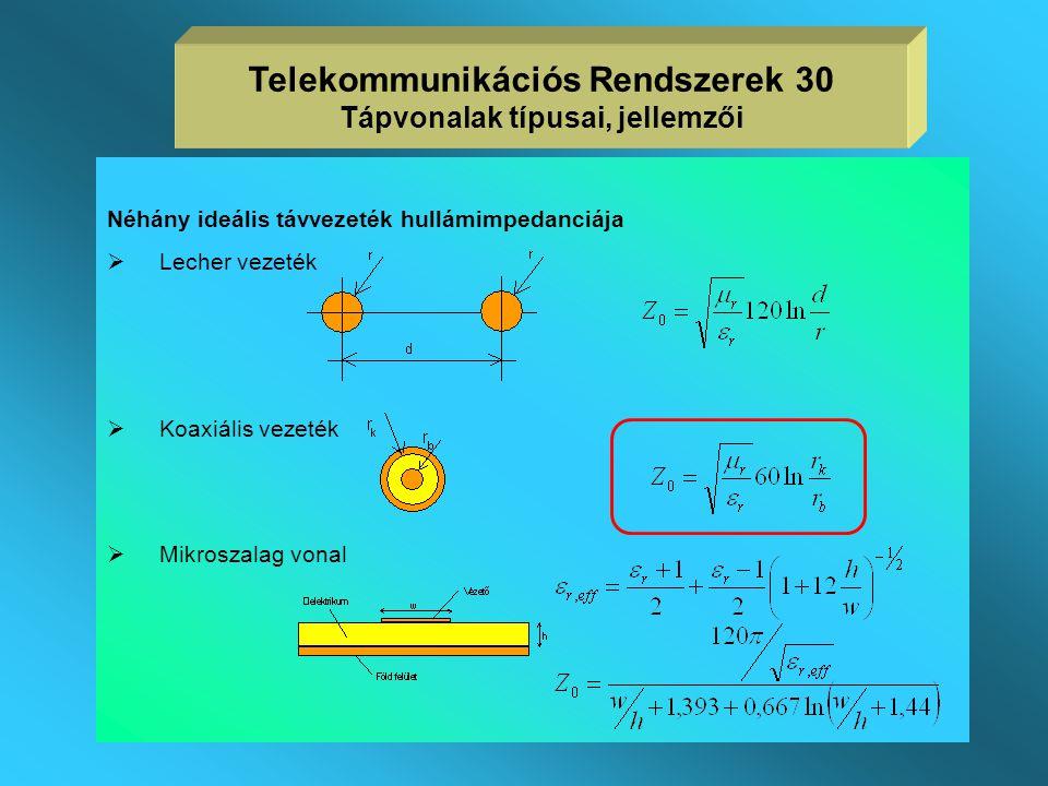 Telekommunikációs Rendszerek 30 Tápvonalak típusai, jellemzői