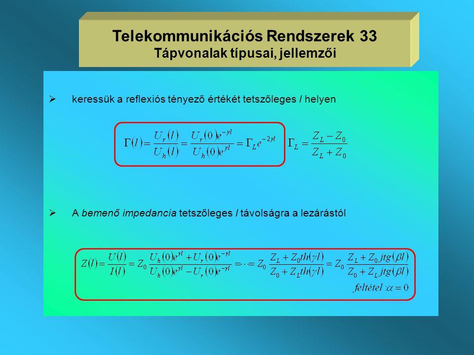 Telekommunikációs Rendszerek 33 Tápvonalak típusai, jellemzői