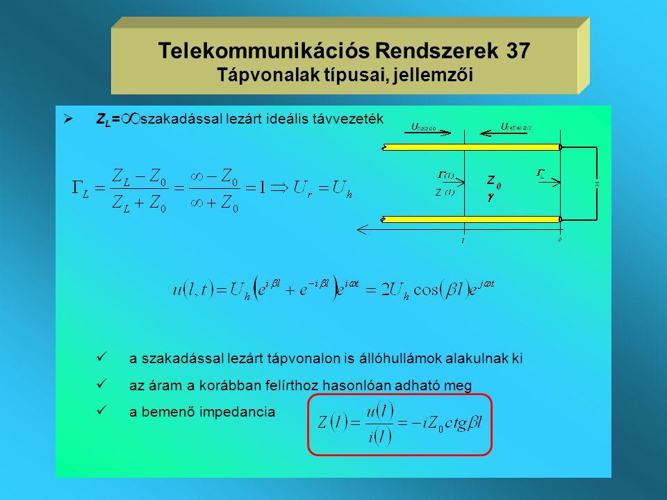 Telekommunikációs Rendszerek 37 Tápvonalak típusai, jellemzői