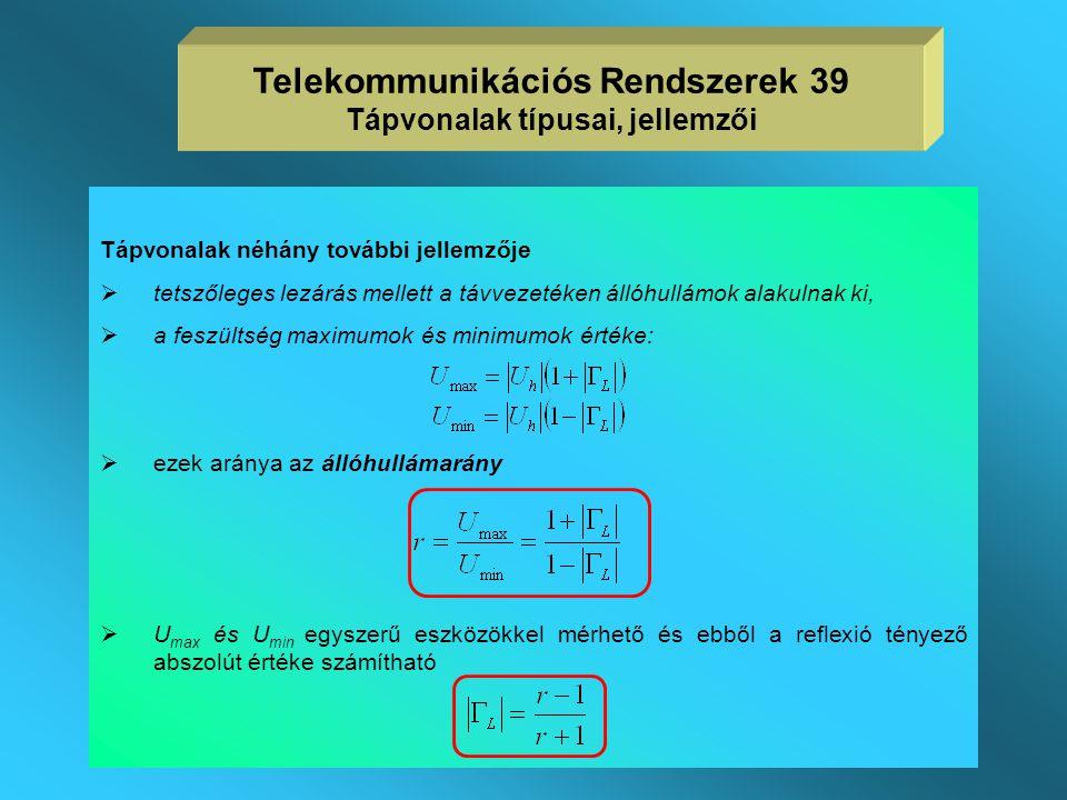 Telekommunikációs Rendszerek 39 Tápvonalak típusai, jellemzői
