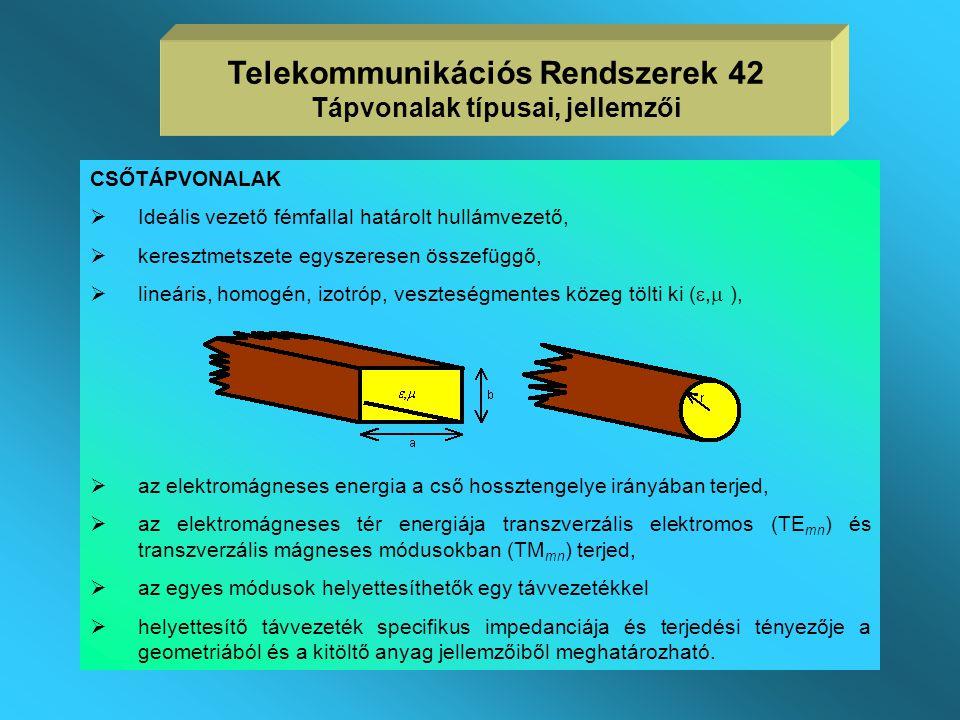 Telekommunikációs Rendszerek 42 Tápvonalak típusai, jellemzői