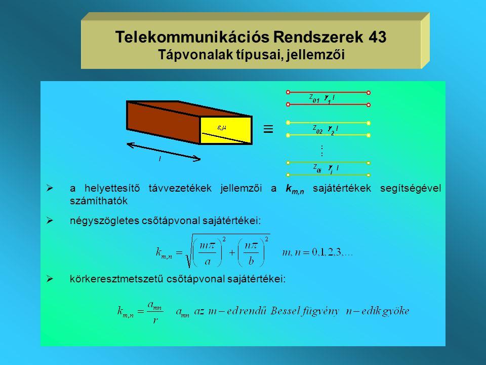 Telekommunikációs Rendszerek 43 Tápvonalak típusai, jellemzői