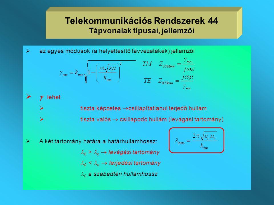 Telekommunikációs Rendszerek 44 Tápvonalak típusai, jellemzői