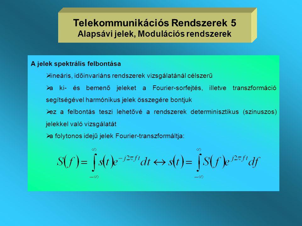 Telekommunikációs Rendszerek 5 Alapsávi jelek, Modulációs rendszerek