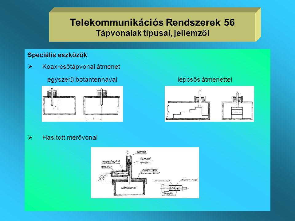 Telekommunikációs Rendszerek 56 Tápvonalak típusai, jellemzői