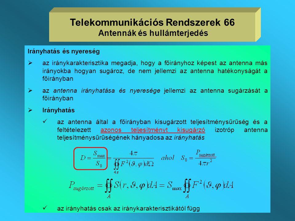 Telekommunikációs Rendszerek 66 Antennák és hullámterjedés