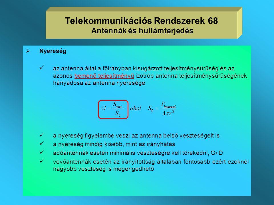 Telekommunikációs Rendszerek 68 Antennák és hullámterjedés