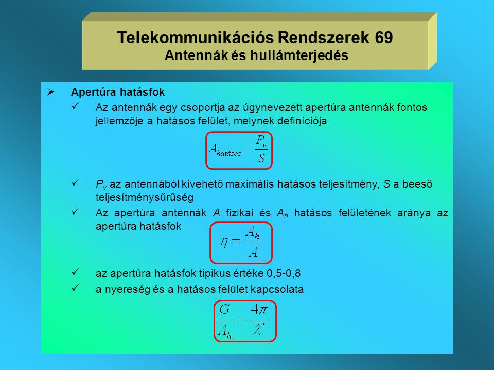 Telekommunikációs Rendszerek 69 Antennák és hullámterjedés
