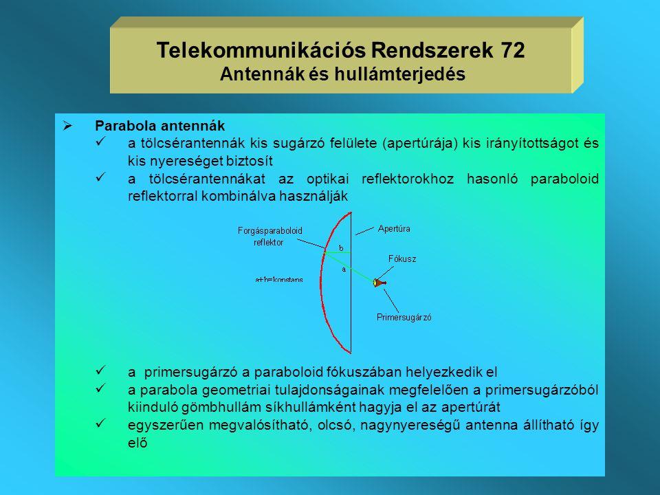 Telekommunikációs Rendszerek 72 Antennák és hullámterjedés