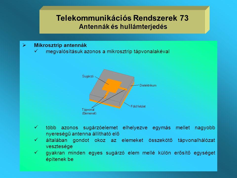 Telekommunikációs Rendszerek 73 Antennák és hullámterjedés