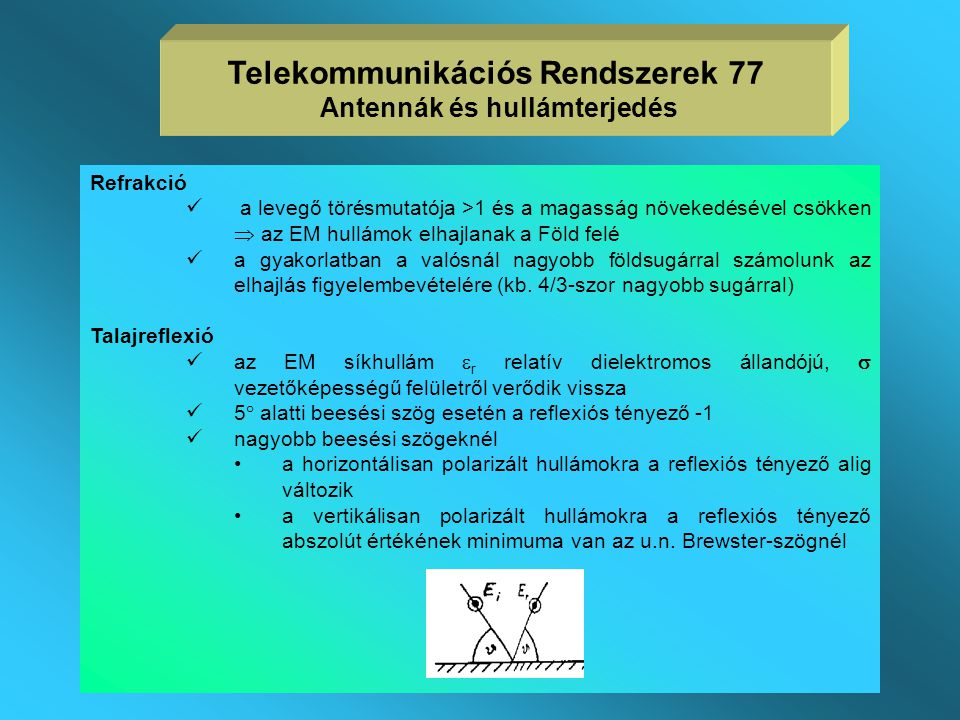 Telekommunikációs Rendszerek 77 Antennák és hullámterjedés