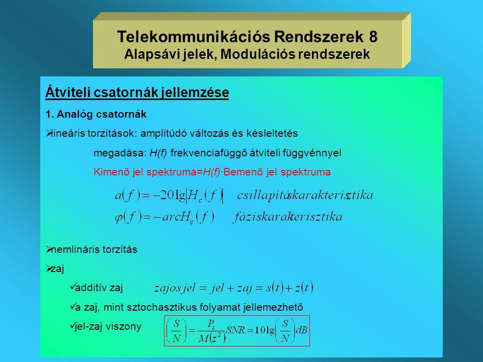 Telekommunikációs Rendszerek 8 Alapsávi jelek, Modulációs rendszerek