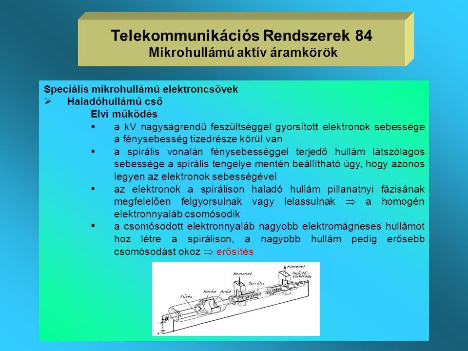 Telekommunikációs Rendszerek 84 Mikrohullámú aktív áramkörök