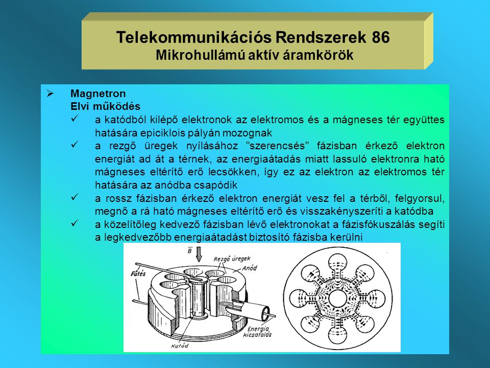 Telekommunikációs Rendszerek 86 Mikrohullámú aktív áramkörök