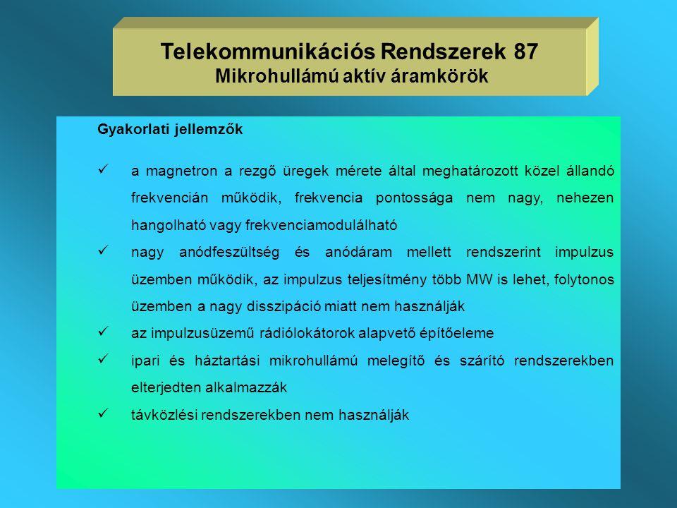 Telekommunikációs Rendszerek 87 Mikrohullámú aktív áramkörök
