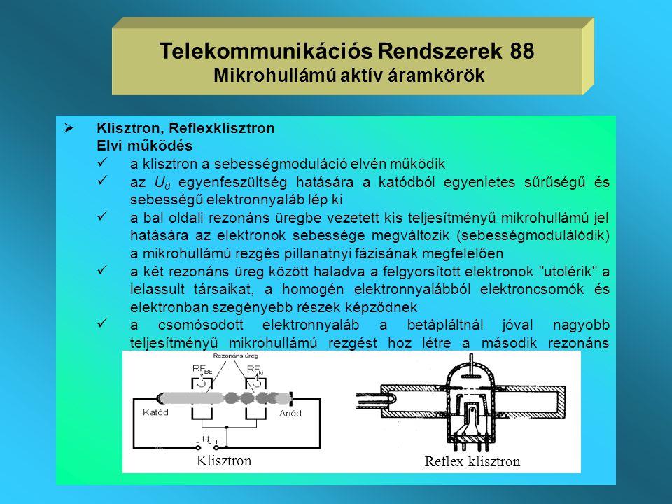 Telekommunikációs Rendszerek 88 Mikrohullámú aktív áramkörök